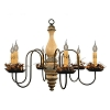 Anderson Wooden Chandelier in Buttermilk Crackle Over Black with Blue Trim