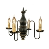 Abigail Wooden Chandelier in Black Crackle Over Mustard
