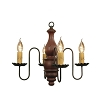 Abigail Wooden Chandelier in Barn Red Crackle Over Black