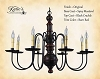 Hamilton Wooden Chandelier Black Crackle over Spicy Mustard with Barn Red Trim