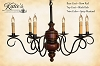 Queen Anne Wooden Chandelier Black Rub over Barn Red with Spicy Mustard Trim