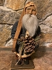 Primitive Arnett Santa In Navy Homespun Holding Pinecone