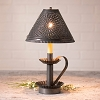 Plantation Candlestick Lamp with Chisel Shade in Kettle Black