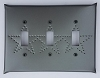 Tin Triple Switchplate Star Punch
