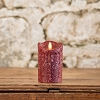 MOVING FLAME 2 IN X 4.75 IN CRANBERRY PILLAR CANDLE WITH TIMER