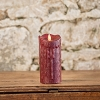 MOVING FLAME 3 IN X 7 IN CRANBERRY WAXED PILLAR CANDLE WITH TIMER