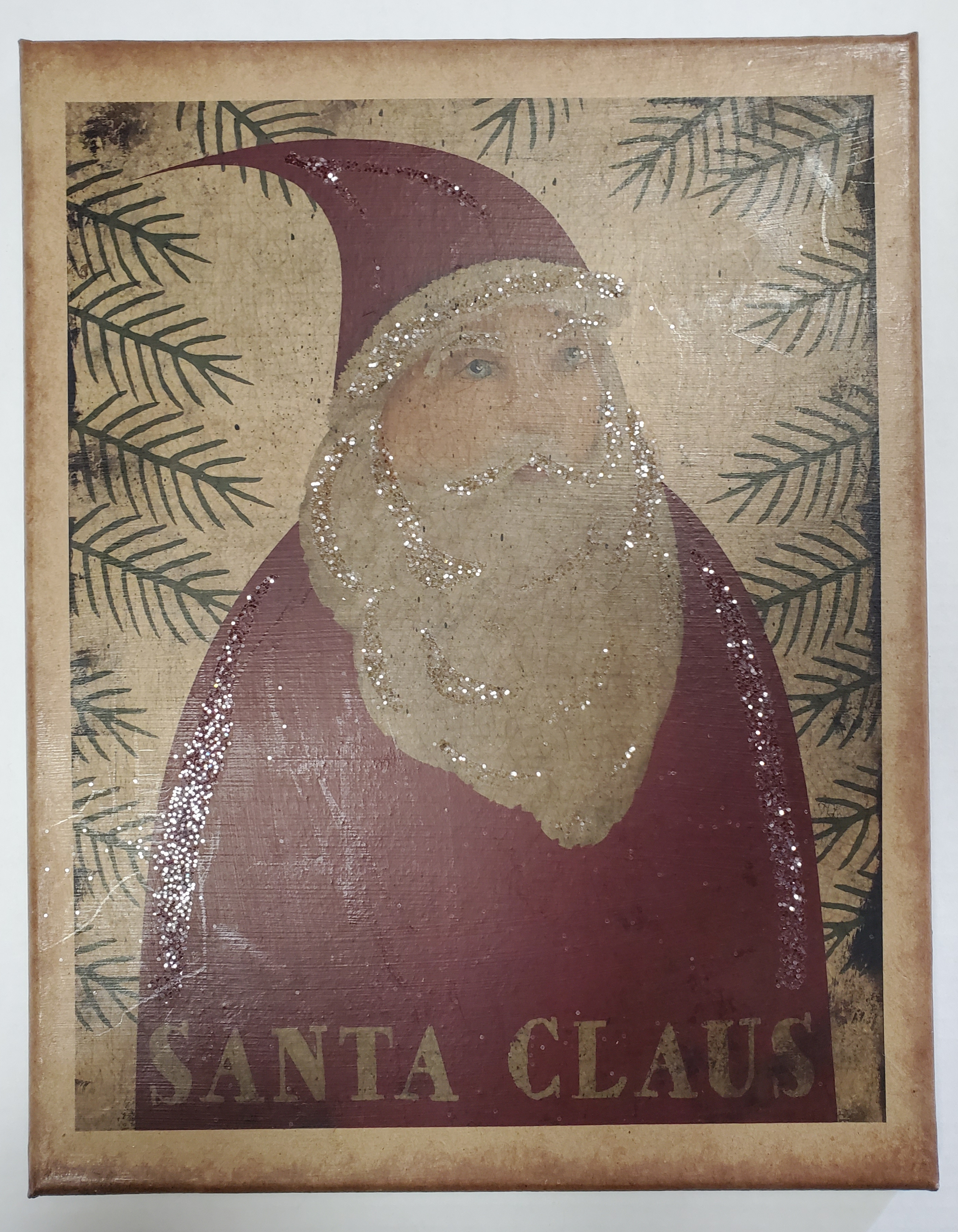 11X14 Primitive Santa Claus Canvas Print With Glitter