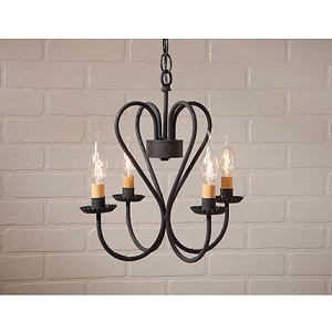 Small Georgetown Wrought Iron Chandelier in Textured Black