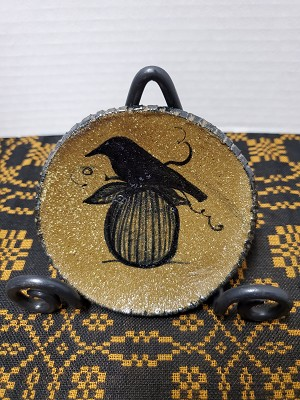 Crow with Pumpkin Pottery Plate Extra Small