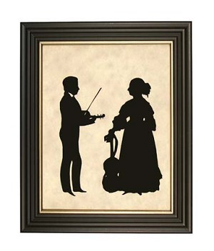 Man with Violin - Woman with Cello Silhouette