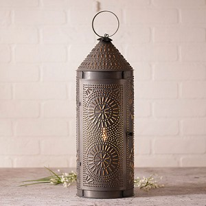 "22"" Chimney Lantern in Blackened Tin"