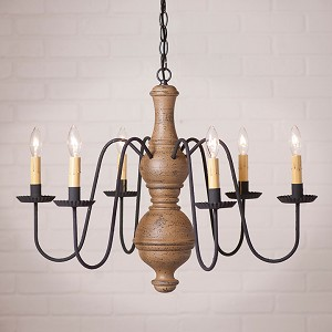 Large Chesterfield Wooden Chandelier in Americana Pearwood