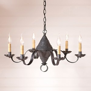 Concord Tin Chandelier in Blackened Tin