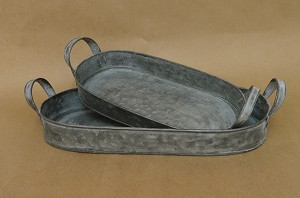 Rectangular Oval Tray with Metal Handles-Set of 2