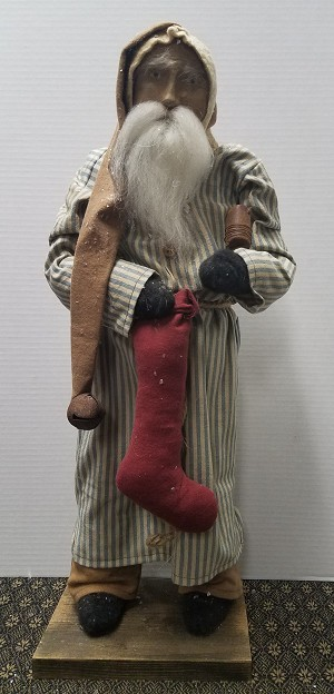 Arnett Santa with Striped Coat with Stocking and Candle