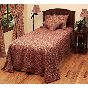 Marshfield Jacquard Bedcover Queen Barn Red