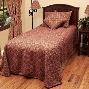 Marshfield Jacquard Bedcover Twin Barn Red