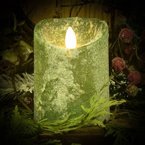 3×4 REAL LOOK FLAMELESS TIMER CANDLE-PINE OVER SNOW