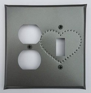 Tin Single Switch/Single Outlet Heart Punch