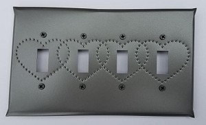 Tin Quad Switchplate Heart Punch