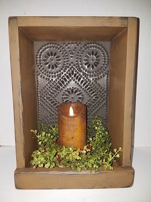 Tall Tin Candle Box Mustard